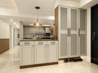 木質溫馨 愜意鄉村宅邸--富山居 木博士團隊/動念室內設計制作 乡村风格的走廊,走廊和楼梯 MDF Brown