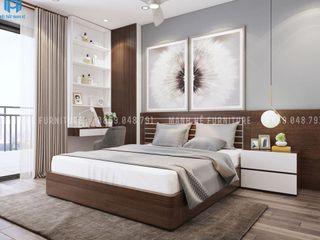Thiết kế nội thất căn hộ chung HaDo Centrosa Garden 86m2 có 2 phòng ngủ - Cô Hồng, Quận 10, TP.HCM Công ty Cổ Phần Nội Thất Mạnh Hệ Phòng ngủ phong cách hiện đại Than củi Grey