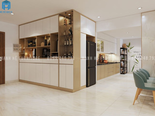 Thiết kế nội thất căn hộ chung HaDo Centrosa Garden 86m2 có 2 phòng ngủ - Cô Hồng, Quận 10, TP.HCM Công ty Cổ Phần Nội Thất Mạnh Hệ Phòng khách Đồng / Đồng / Đồng thau White