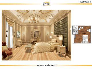 Miapera MİMARLIK Dormitorios de estilo clásico Plata/Oro Ámbar/Dorado