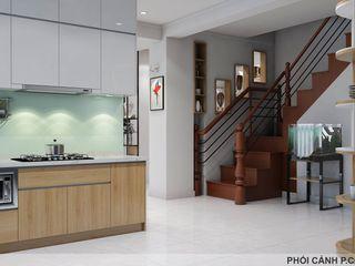 Designer Công ty Cổ Phần Nội Thất Mạnh Hệ Nhà bếp phong cách hiện đại MDF White