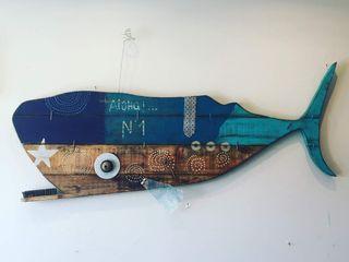 Artigos de Decoração Artesanais em madeira reciclada Officina Boarotto ArteImagens e pinturas Madeira Azul