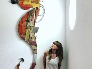 Artigos de Decoração Artesanais em madeira reciclada Officina Boarotto ArteImagens e pinturas Madeira Laranja