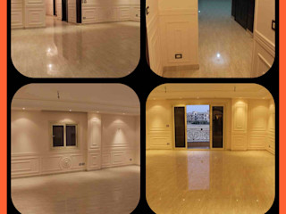 كاسل للإستشارات الهندسية وأعمال الديكور والتشطيبات العامة Modern Corridor, Hallway and Staircase Ceramic Grey