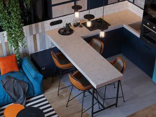 Suiten7 Cocinas de estilo industrial Azul