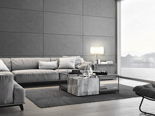 Loft Design System Deutschland - Wandpaneele aus Bayern Ruang Keluarga Modern Beton Grey
