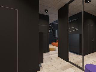 Irina Yakushina Corredores, halls e escadas minimalistas Preto