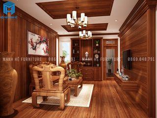 Designer Công ty Cổ Phần Nội Thất Mạnh Hệ Phòng khách phong cách kinh điển OSB Brown