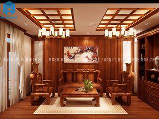 Designer Công ty Cổ Phần Nội Thất Mạnh Hệ Phòng khách phong cách kinh điển MDF Brown