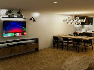 Sixty9 3D Design Nowoczesny salon O efekcie drewna