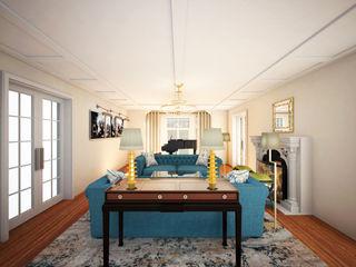 Architectural Rendering Services NYC: Elegant living Room Design JMSD Consultant - 3D Architectural Visualization Studio Modern Living Room Bricks Blue