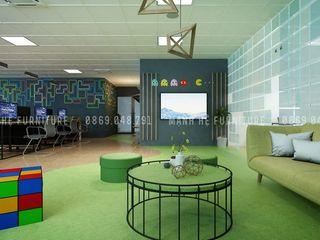 THIẾT KẾ NỘI THẤT VĂN PHÒNG CÔNG TY TRÒ CHƠI NĂNG ĐỘNG, SÁNG TẠO VÀ CHUYÊN NGHIỆP Công ty Cổ Phần Nội Thất Mạnh Hệ Phòng học/văn phòng phong cách hiện đại Bê tông Green
