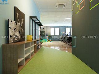 THIẾT KẾ NỘI THẤT VĂN PHÒNG CÔNG TY TRÒ CHƠI NĂNG ĐỘNG, SÁNG TẠO VÀ CHUYÊN NGHIỆP Công ty Cổ Phần Nội Thất Mạnh Hệ Phòng học/văn phòng phong cách hiện đại Đá hoa Green