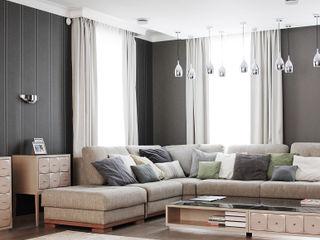 Wide Design Group ミニマルデザインの リビング 灰色
