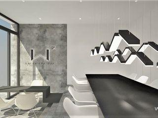 Wkwadrat Architekt Wnętrz Toruń Minimalist offices & stores Concrete Grey