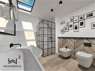Wkwadrat Architekt Wnętrz Toruń Industrial style bathroom Wood White