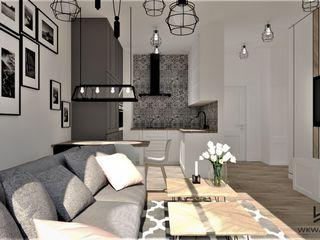 Wkwadrat Architekt Wnętrz Toruń Small kitchens MDF White