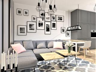 Wkwadrat Architekt Wnętrz Toruń Rustic style living room MDF Grey