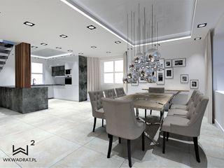 Wkwadrat Architekt Wnętrz Toruń Modern dining room Concrete White