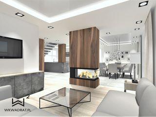Wkwadrat Architekt Wnętrz Toruń Modern living room Concrete Wood effect