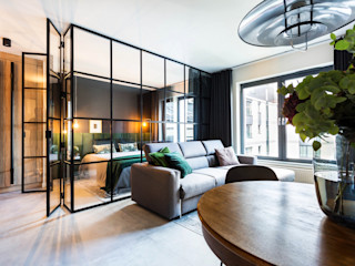 MG Interior Studio Michał Głuszak Salones de estilo moderno Gris