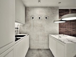 Wkwadrat Architekt Wnętrz Toruń Kitchen units Concrete White