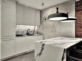 Wkwadrat Architekt Wnętrz Toruń Small kitchens Marble Grey