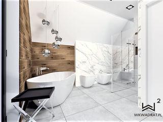 Wkwadrat Architekt Wnętrz Toruń Modern bathroom Tiles White