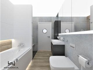 Wkwadrat Architekt Wnętrz Toruń Scandinavian style bathroom Concrete Grey