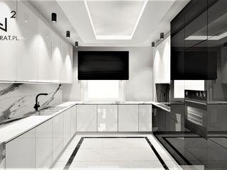 Wkwadrat Architekt Wnętrz Toruń Built-in kitchens Marble Black