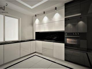 Wkwadrat Architekt Wnętrz Toruń Built-in kitchens MDF White