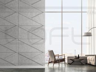 Loft Design System Deutschland - Wandpaneele aus Bayern Ruang Keluarga Gaya Industrial Beton Grey