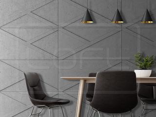 Loft Design System Deutschland - Wandpaneele aus Bayern Ruang Makan Gaya Industrial Beton Grey