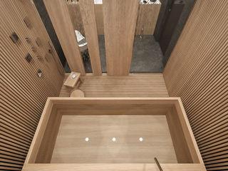 MIRAI STUDIO Baños de estilo asiático Madera Acabado en madera