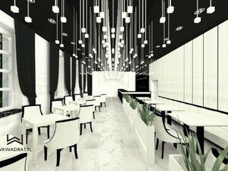Wkwadrat Architekt Wnętrz Toruń Modern gastronomy Marble White