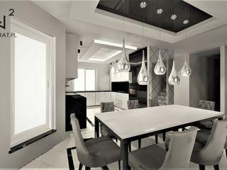 Wkwadrat Architekt Wnętrz Toruń Minimalist dining room Marble White