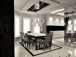 Wkwadrat Architekt Wnętrz Toruń Modern dining room Stone White