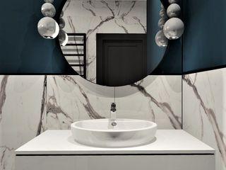 Wkwadrat Architekt Wnętrz Toruń Modern bathroom Marble Blue