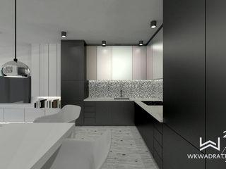 Wkwadrat Architekt Wnętrz Toruń Small kitchens MDF Black