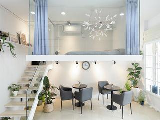 恆星商業有限公司 Espacios comerciales de estilo minimalista Azulejos Blanco