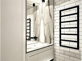 Wkwadrat Architekt Wnętrz Toruń Industrial style bathroom Bricks White