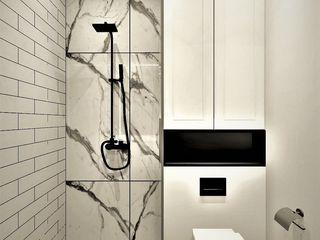 Wkwadrat Architekt Wnętrz Toruń Industrial style bathroom Concrete White