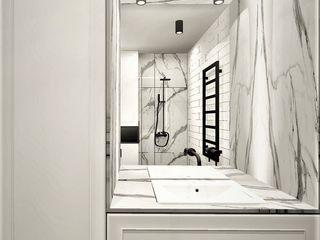 Wkwadrat Architekt Wnętrz Toruń Industrial style bathroom Marble White