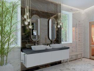 студия Design3F Salle de bain minimaliste Tuiles Blanc