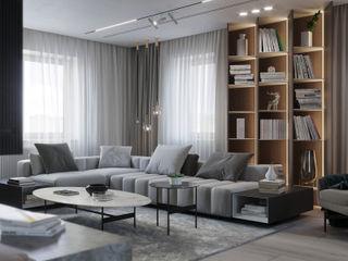 Suiten7 Salas de estilo escandinavo Madera maciza Gris