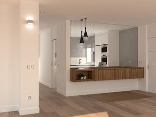 Reforma y decoración estilo minimalista de un piso en Gijón arQmonia estudio, Arquitectos de interior, Asturias Pasillos, vestíbulos y escaleras de estilo moderno