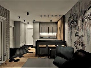 Wkwadrat Architekt Wnętrz Toruń Industrial style living room Concrete Grey