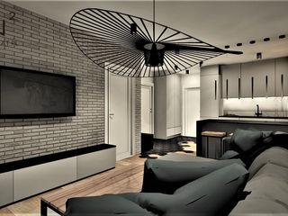 Wkwadrat Architekt Wnętrz Toruń Industrial style living room Bricks Grey