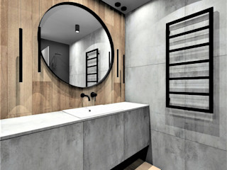 Wkwadrat Architekt Wnętrz Toruń Modern bathroom Wood Grey
