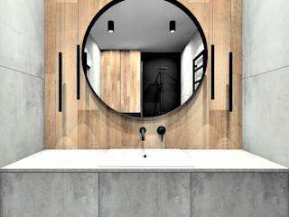 Wkwadrat Architekt Wnętrz Toruń Modern bathroom Tiles Brown